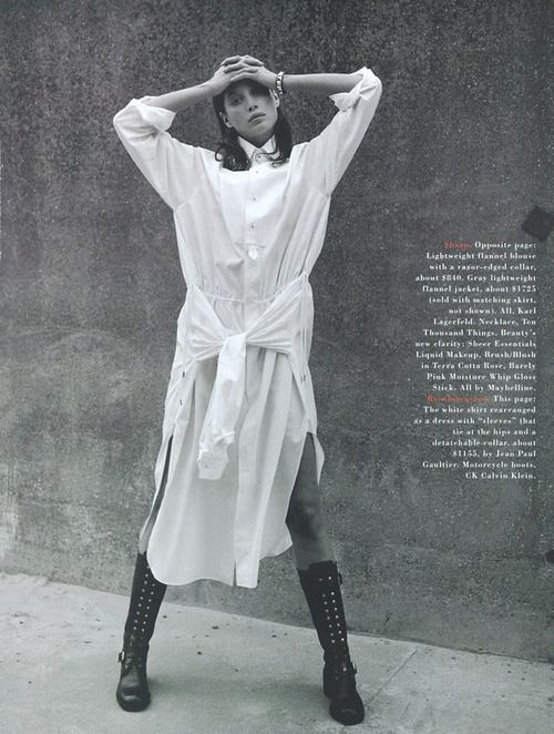 """""""a white shirt"""" christy turlington for harper's bazaar august 1993"""