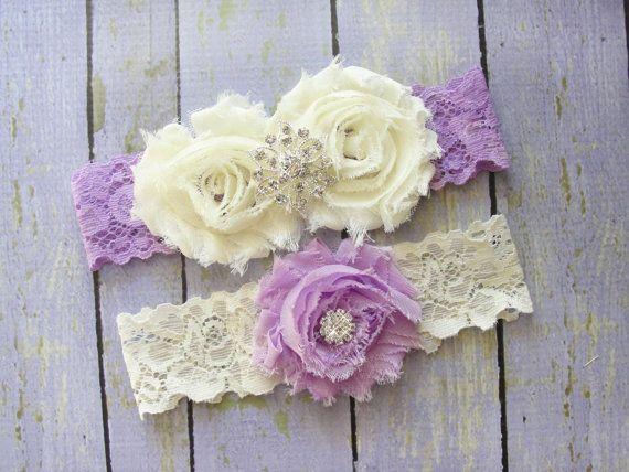 ON SALE Garter Set, Lilac Garter, Purple Wedding Garter, Ivory Bridal Garter, Purple Lace Garter, Rhinestone Garter $22.50