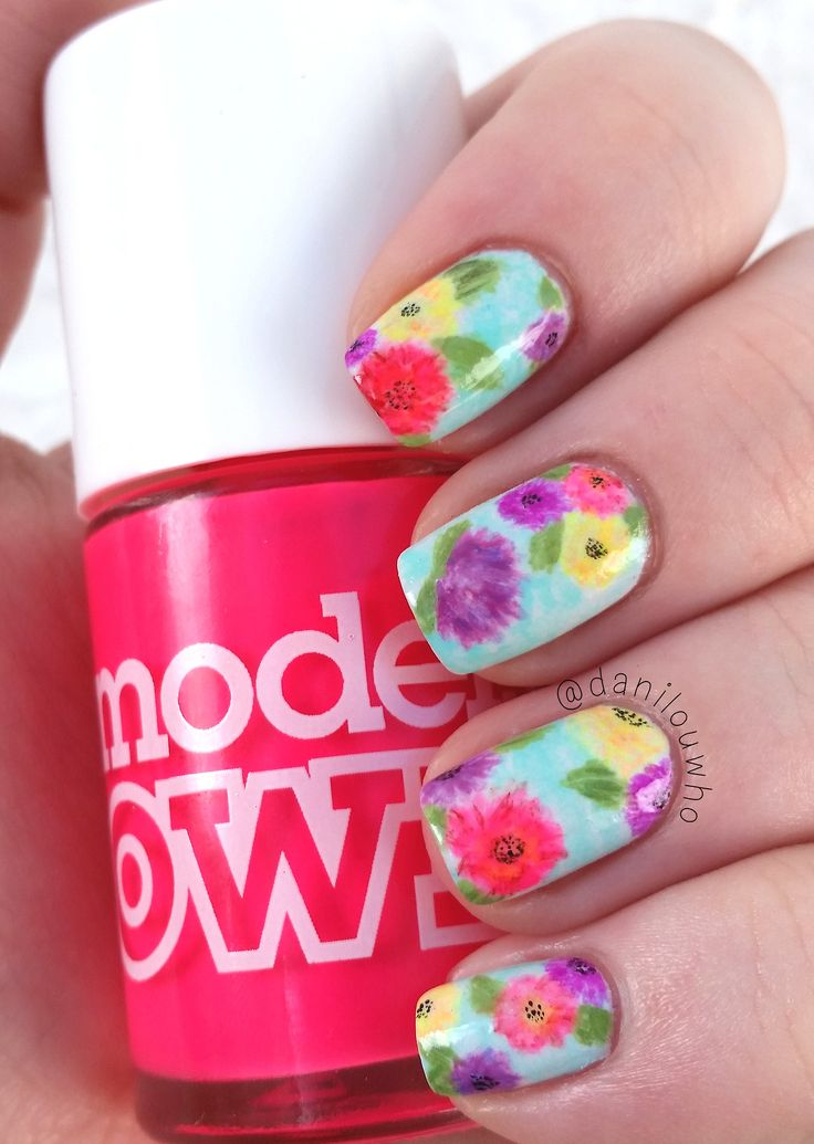watercolor style flowers using a bunch of different neon nail polishes ~ by danilouwho