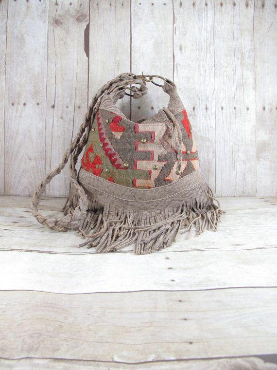 Kilim Bag, Leather Fringe Bag, Tribal Bag, Distressed Leather Bag, Carpet Bag, Leather Hobo,Southwestern Bag, Satchel