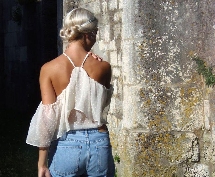 coiffure romantique avec accessoires cheveux, le #headband blanc 6bleu-de-minuit
