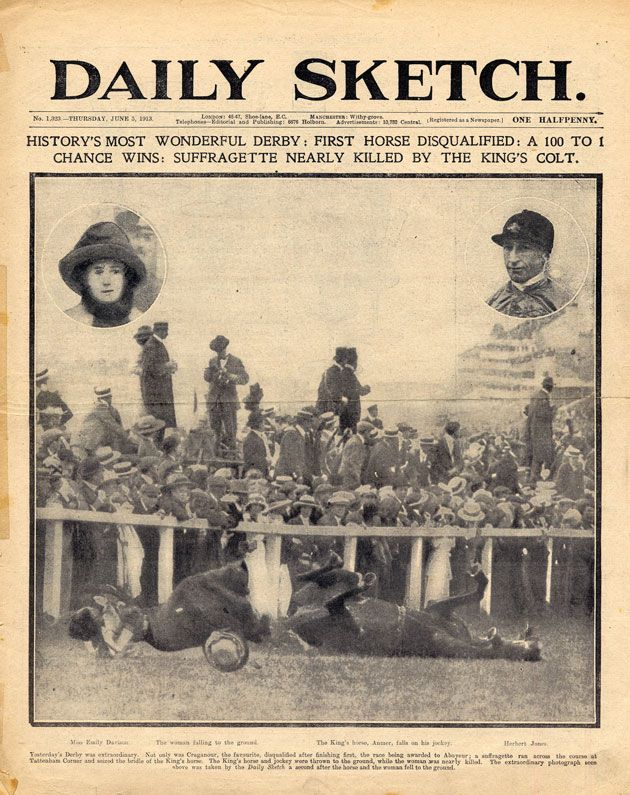 On the 4 June 1913, #EmilyDavison threw herself in front of King George V's horse Anmer during the Epsom Derby to draw attention to the #suffragette campaign. Although this front page says that Davison survived, she died 4 days later as a result of the incident.