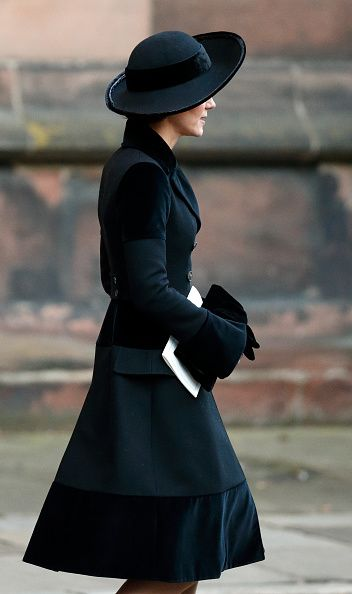 Catherine, Duchess of Cambridge attends a Memorial Service for Gerald Grosvenor, 6th Duke of Westminster at Chester Cathedral on November 28, 2016 in Chester, England.
