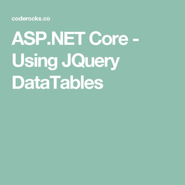 ASP.NET Core - Using JQuery DataTables