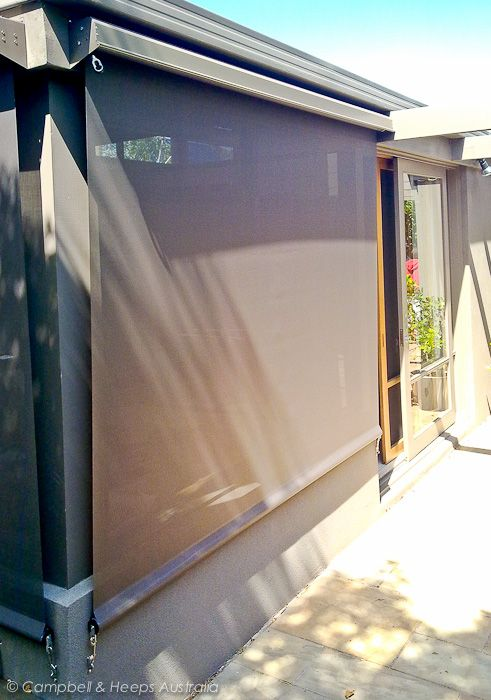 Light Filtering - sun protecting outdoor blinds - Charcoal fabric and covers- Get shade before summer hits!