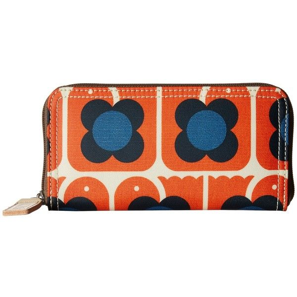 Orla Kiely Love Birds Print Big Zip Wallet (Persimmon) (23.470 HUF) ❤ liked on Polyvore featuring bags, wallets, colorful wallets, orla kiely wallet, zipper wallet, zip close bags and orla kiely bags