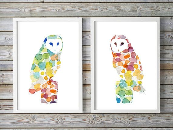 Set van 2 uil Aquarel Prints  kerkuil door Lemonillustrations