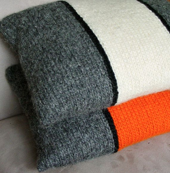 Pillow, Cushion, Hand Knitted, Wool, White, Grey, Tweed, Stripe, Black, Modern, UK Seller,