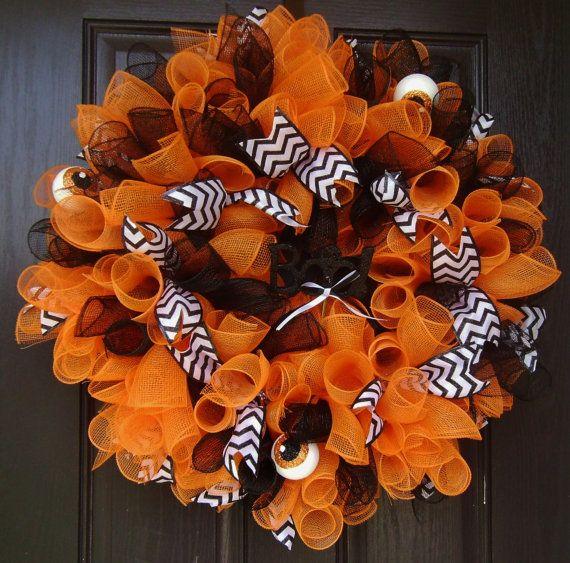 "Black Flower And Crow Halloween Wreath: Large 28"" Wide Deco Mesh Halloween Wreath Orange Black"