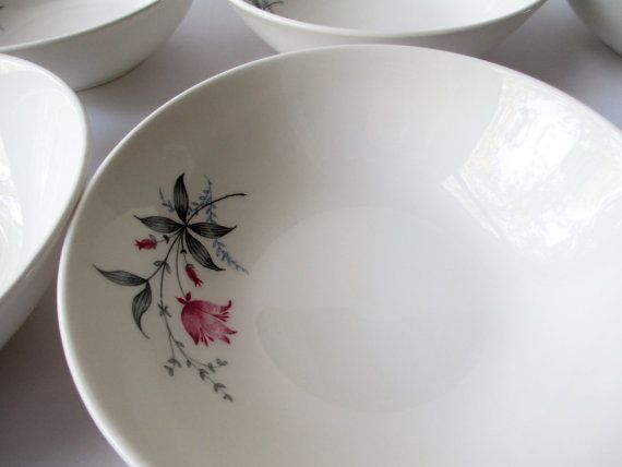 Vintage Canonsburg Larkspur Citation Cereal Bowls by thechinagirl