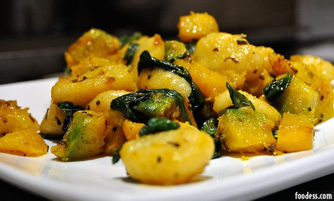 Gnocchi with sage butter sauce.  Uses chicken stock and less butter.