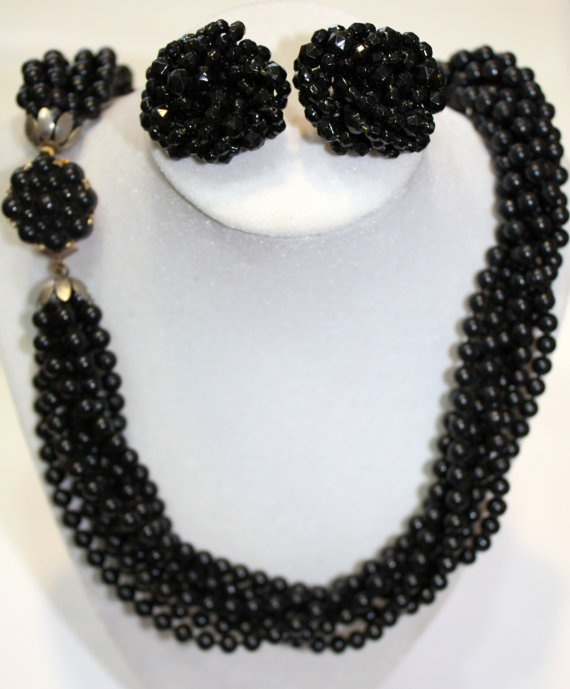 Shoply.com -West Germany Style, 8 stranded black beaded necklace, black jet style cluster earrings.. Only C$20.00
