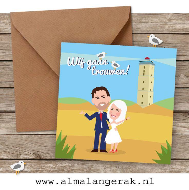 Hoera, Peter en Lizet gaan over een dikke maand #trouwen op #terschelling en vieren dat een heel weekend! De trouwkaarten (en nog veel meer) mocht ik maken!   Op deze kaarten natuurlijk de Brandaris, de vuurtoren van Terschelling. Daarnaast mochten het bruidspaar, het strand, de duinen en de zee (aan de binnenkant van de kaarten) natuurlijk niet ontbreken.  #trouwkaarten #terschelling #cartoon #brandaris #zee #strand #duinen #festival #wedding #trouwen