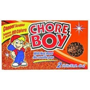 """Chore Boy® Copper Scrubbers: 2 Pack by Spic And Span. $4.45. Higher back for comfortable wringing. Yellow with 3"""" non-marking gray casters. Copper Chore Boy. Chore Boy. Commercial grade plastic bucket. Chore Boy, 2 Pack, Copper Scouring Pad."""