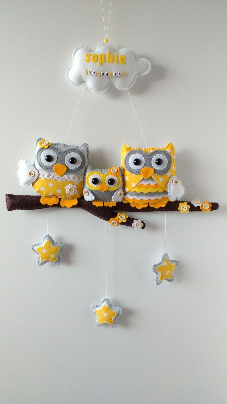 Handmade by JoHo - Uiltjes op tak van vilt en stof