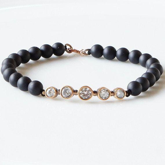 Onyx bracelet with quintet zirconia bronze pendant, Beaded bracelet , Matt  black onyx  bracelet on Etsy, $25.00