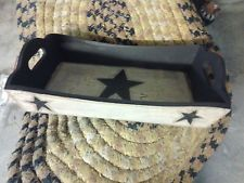 Primitive Crackle Wood Serving Tray Black Stars Country Decor