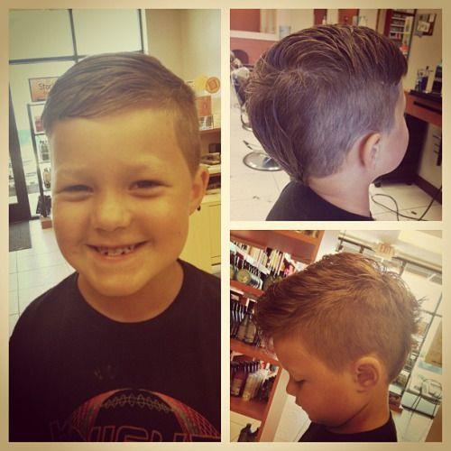 Versatile little boys haircut. #mohawk #undercut #boyscut #taper #barber #haircutterynorthaurora #masterstylist #stylist247365 #americancrew #redkenformen
