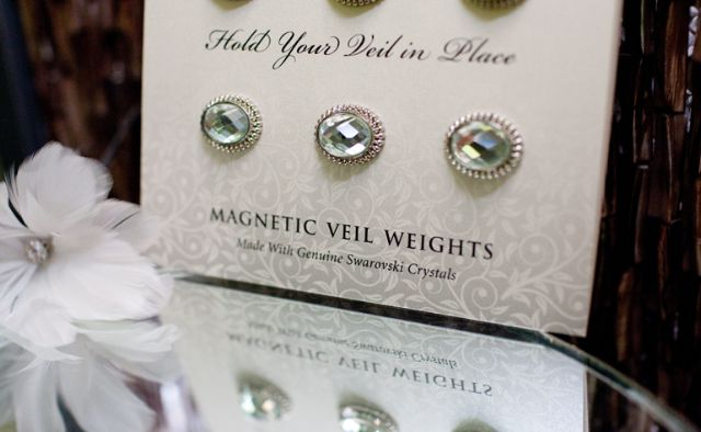 Magnetic Veil Weights - just in case it's super windy that day! Never thought of that.