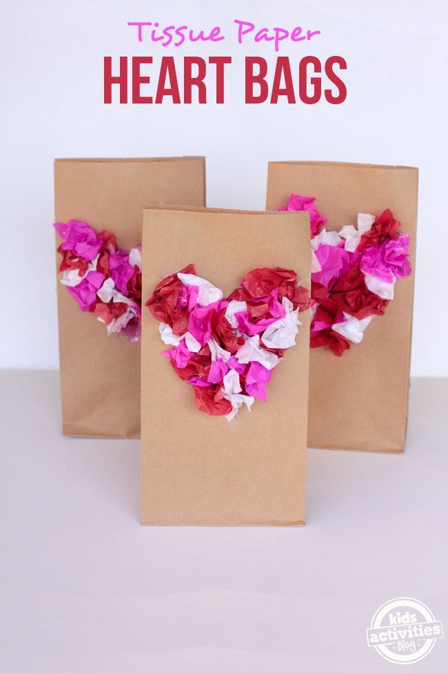 Tissue Paper Heart Bags Valentine Crafts For Kids Valentine