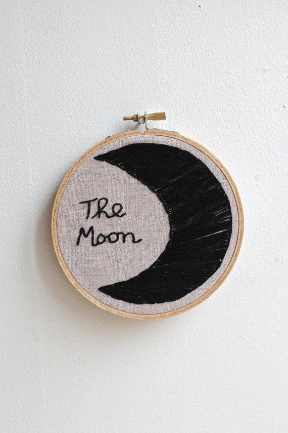 The Moon Embroidery hoop by twomoonsandhannais on Etsy
