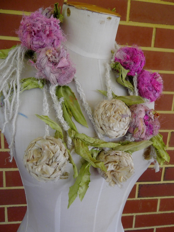 cream pink recycled sari silk  rose necklace lariat or belt hand crocheted by plumfish ooak via Etsy.