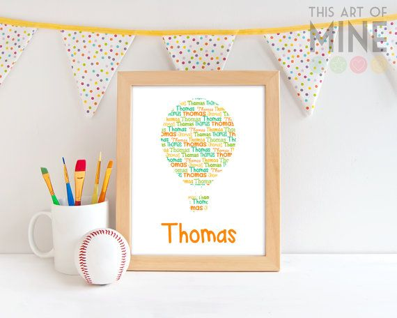 A fun personalised name print for a transport, aviation or sky themed room. Available in a wide range of colours to suit any decor.