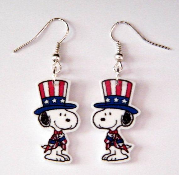 patriotic snoopy | Peanuts Gang Patriotic Snoopy Top Hat and Vest Earrings 4 th of July