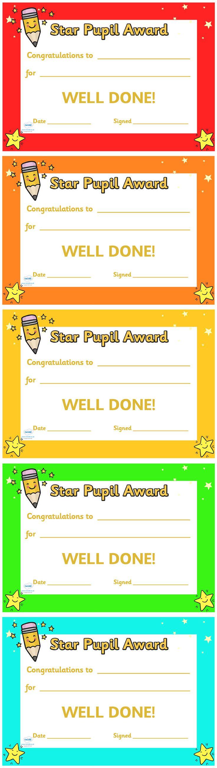 twinkl resources  u0026gt  u0026gt  star pupil award certificate