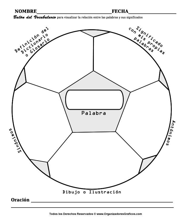 Organizador cognitivo con forma de balón de fútbol para trabajar vocabulario.