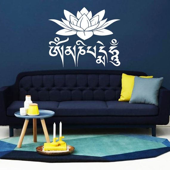 online shopping rings Wall Decal Lotus Flower mantra om mani padme hum Om Mantra Quote Indidan Yoga Studio Decals Vinyl Sticker Wall Decor Home Art Mural