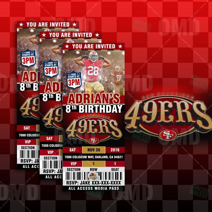 San Francisco 49ers Ticket Style Sports Party Invitations #sportsinvites