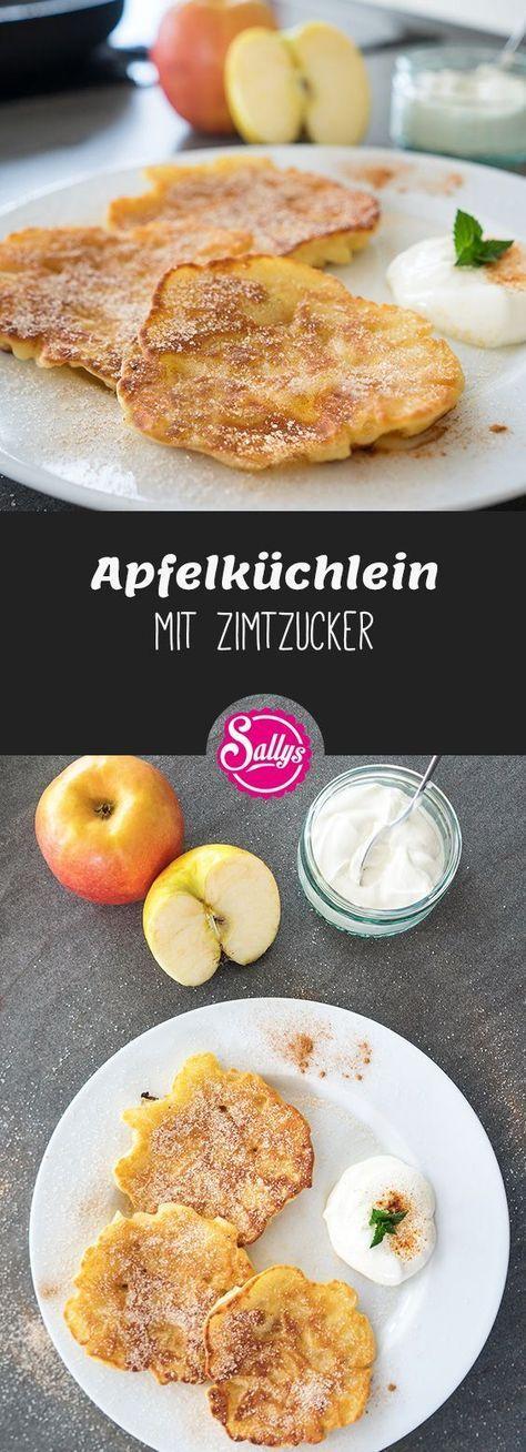 Leckere, schnelle Apfelküchlein, die mit Zimtzucker und Schmand serviert werden …