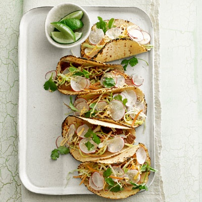 Thai Steak Tacos - Corn tortillas make a hearty, healthy base for these unusually flavored tacos. Fresh veggies and herbs make for a cool, crunchy topping. #myplate #protein #vegetables