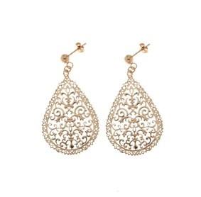 ORECCHINI IN ARGENTO ROSATO E PENDENTI A GOCCIA  Orecchini in argento bagnato oro rosa e pendenti a forma di goccia (mm. 40 x 25)  Prices: $96.55