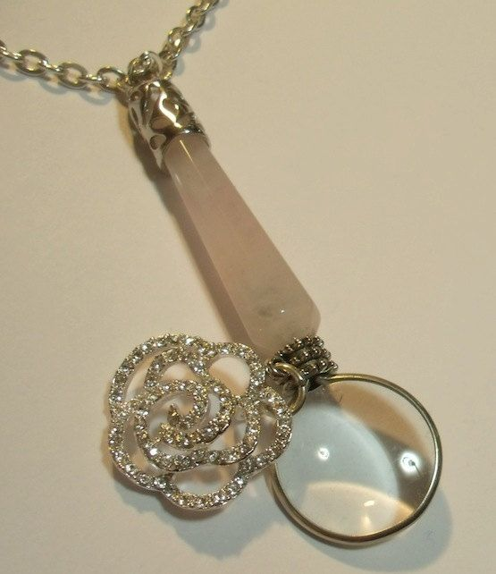 78 best magnifying glass pendants images on pinterest magnifying magnifying glass with pink quartz handle and silver plated rhinestone rose swivel charmpendant necklace aloadofball Image collections