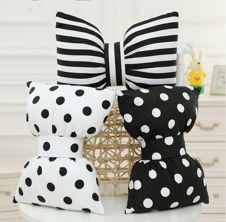 Black and White Polka Dot Bow Tie Throw Pillow & Striped Bow Tie Throw Pillow