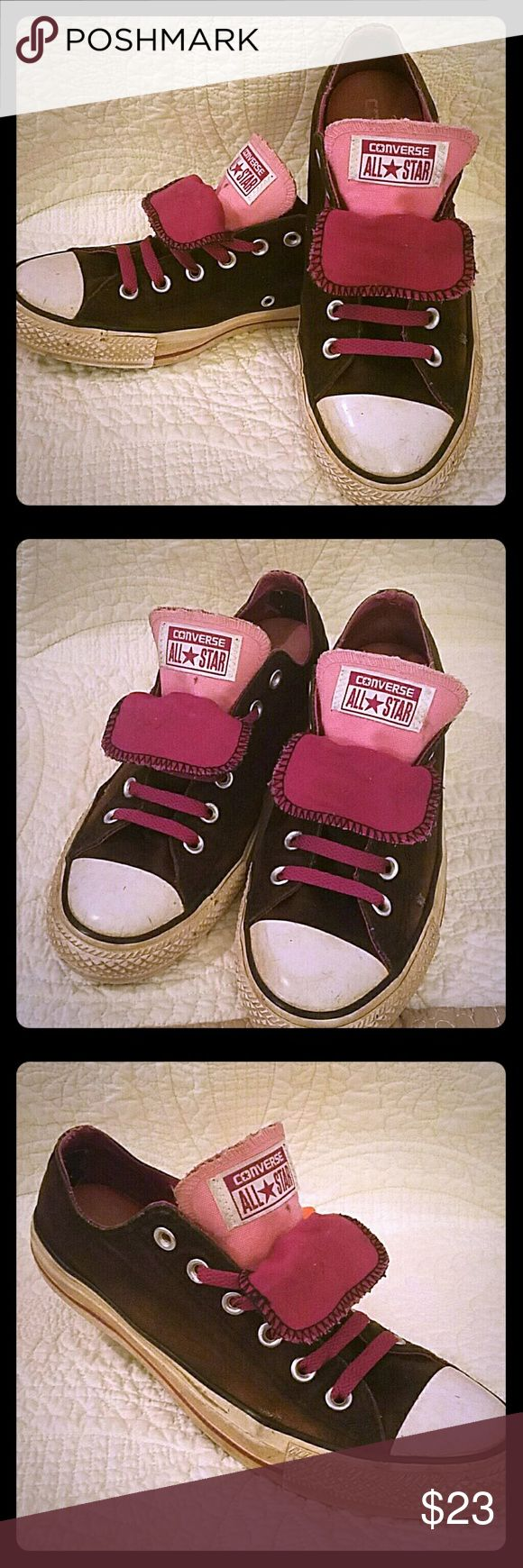 Ladies Converse All Star Sneakers Super cute Converse with a lot of life left. Purple, black and pink. Converse Shoes Sneakers