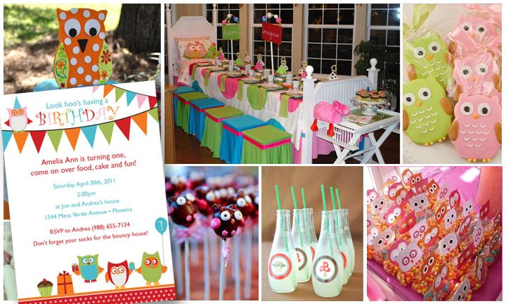 Owl Themed Birthday Party | Photo credits clockwise from top left: