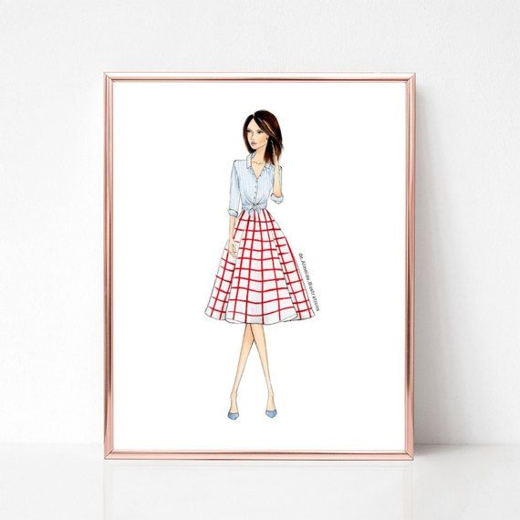 Stripes and plaids, fashion illustration print, art print, sketch, croquis,