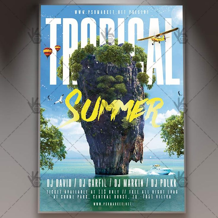 Tropical Summer - Premium Flyer PSD Template. #beach #break #club #disco #event #exotic #flower #fruit #holiday #house #jungle #music #palm #paradise #summer #tropical #water #wild  DOWNLOAD PSD TEMPLATE HERE: https://www.psdmarket.net/shop/tropical-summer-premium-flyer-psd-template/  MORE FREE AND PREMIUM PSD TEMPLATES: https://www.psdmarket.net/shop/