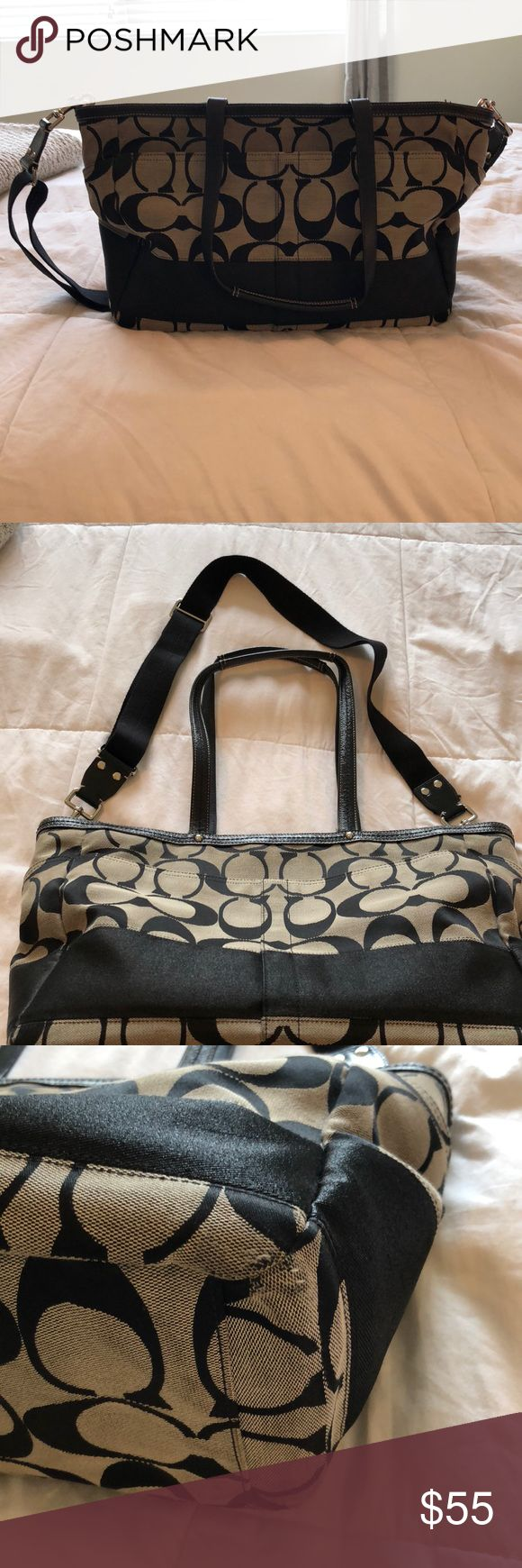 Coach diaper bag Authentic.. has some wear on bottom, but not bad.. still in good condition... inside has a center divider (hard to see in photos).. four bottle holders or anything holder really..two inside, two outside. Coach Bags Baby Bags