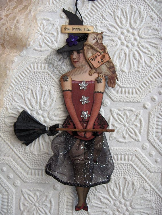 Halloween Witch Altered Art Paperdoll by virginiasvignettesHalloween Witches, Witches Altered, Diy Tags Halloween, Alteredart, Witches Dolls, Clothing Halloween, Altered Art, Art Dolls, Art Paperdolls