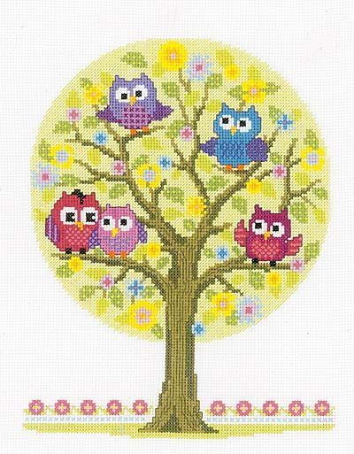 The Owls Have It Cross Stitch Kit by Vervaco