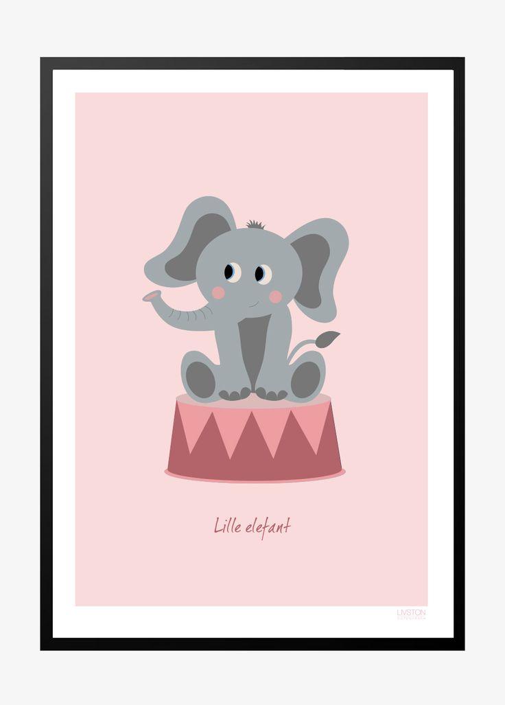 Børneplakat med elefant