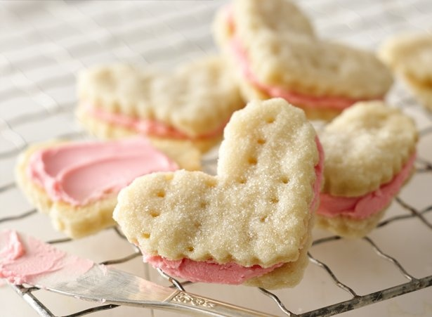 Valentine Cream Wafers...a buttery cookie filled with pink buttercream...recipe from the original Betty Crocker cookbook.