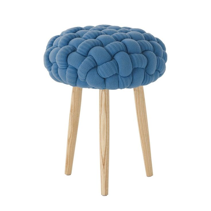 Knitted blue stool