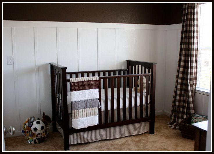 Bedroom, : Astonishing Baby Bedroom And Nursery With Dark Brown Solid Wood Craftsman Baby Bedding Along With White Wood Bedroom Wall And Bro...