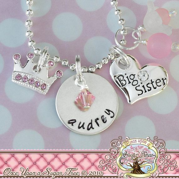 Big Sister HAND STAMPED CHARM Necklace by onceuponasugartree