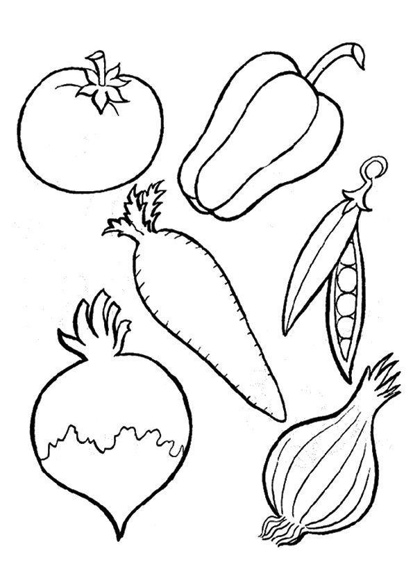 Array Of Vegetables Coloring Page With Images Vegetable